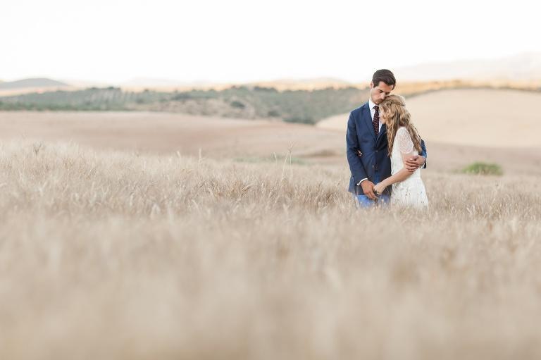 Wheatfield with loving copule